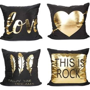 Other - 4pcs Pillow Covers Black Gold Love Dreams Rock